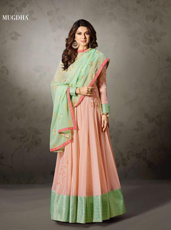 dc4320b87d Mugdha Peach Party Wear Gown Salwar Online Shopping