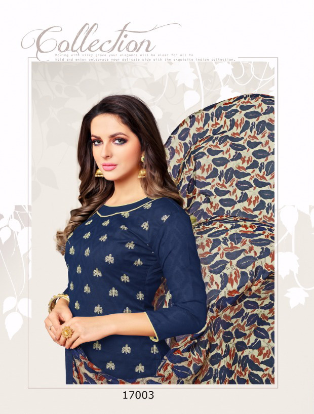 e64e115c80 Navy Blue Cotton Embroidered Churidar Material Online from Dairy Don16