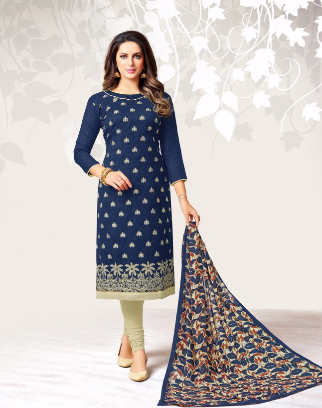 96d4181490 Navy Blue Cotton Embroidered Churidar Material Online from Dairy Don16 -  Drooni.com