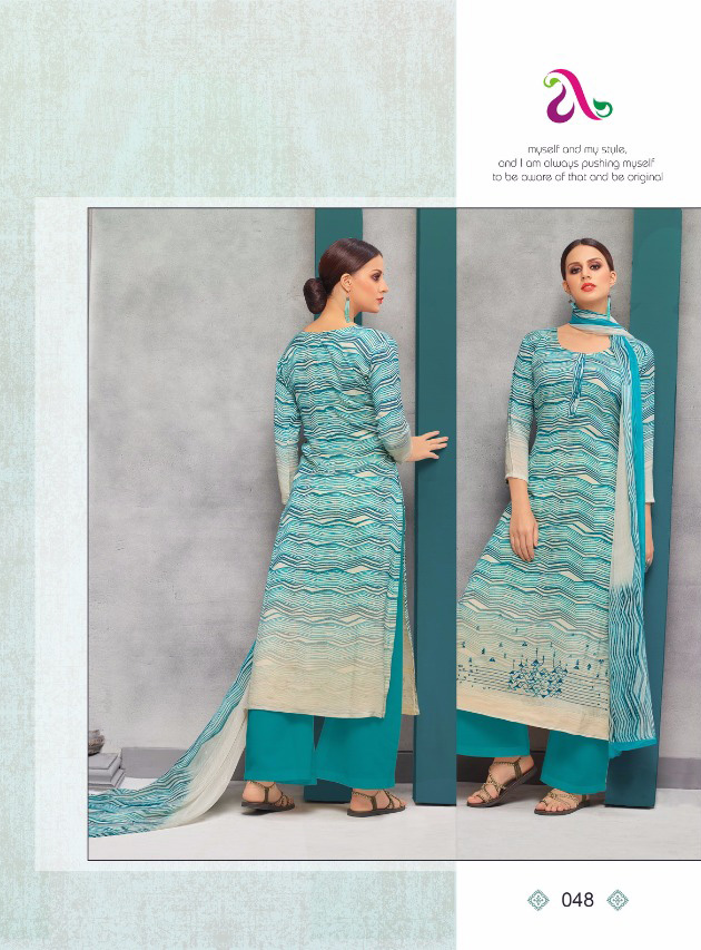 231a4ff65b Sky Blue Printed Cotton Lerissa Salwar Material by Angroop Plus - Drooni.com
