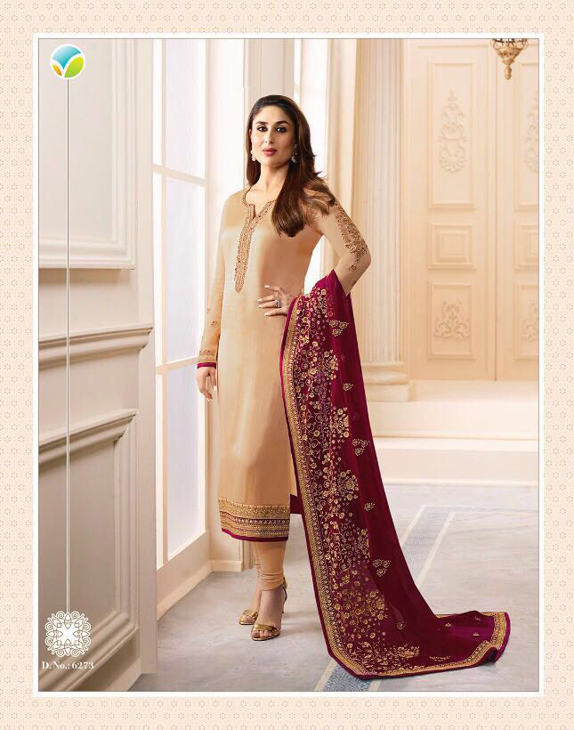 9132ecf85f Kareena 03 Cream Georgette Salwar Material with Heavy Duppatta from Vinay -  Drooni.com
